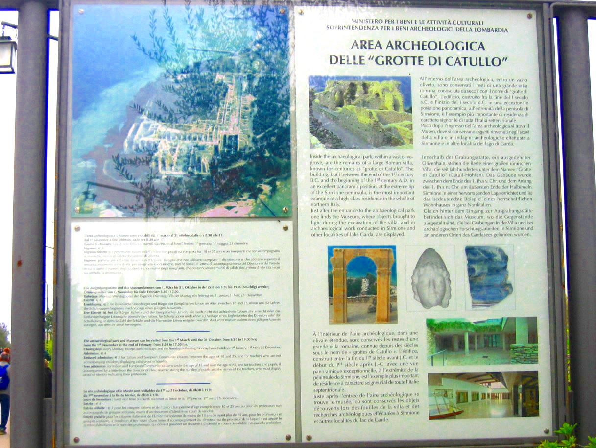 Grotten des Catull Infotafel